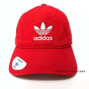adidas Trefoil Red Relaxed Strapback Dad Hat Cap